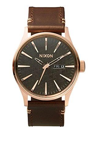 Nixon A105 2001 Men's Sentry Leather Watch Rose Gold / Gunmetal /
