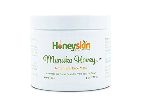 Pure Manuka Honey (8 oz) Smoothing Face Mask, UMF 12+, from New Zealand, Raw, Acne, Dermatitis, Eczema, Psoriasis, Repair Damaged Skin Treatment, Anti Bacterial, Bio Active by Honeyskin Organics
