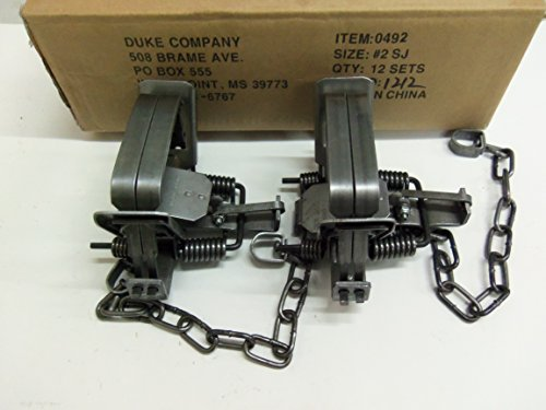 2 Duke #2 Square Jaw Coil Spring Traps 0492 ()