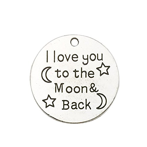(30pcs Antique Silver Round i Love You to The Moon and Back Inspiration Words Charms Craft Supplies Tag Charms Pendants for Crafting,CharmsJewelry Making)