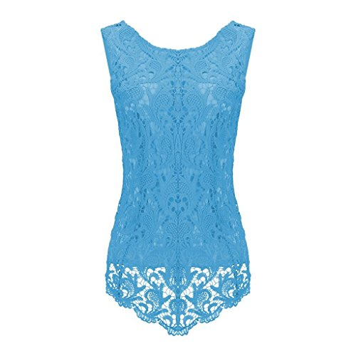 Sumtory Women's Lace Blouse Sleeveless Embroidery Tops Vest Shirt Blouse – Small, Blue2