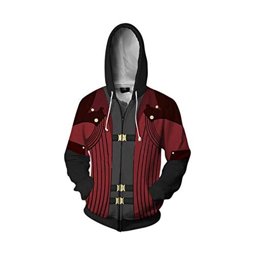 Devil May Cry Costume Dante Cosplay Hoodie Jacket Zip Up Unisex Halloween Costumes (a,Small)