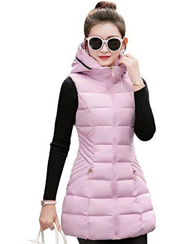 Plus Women Incappucciato Prodotto Lunghi Giovane Trapuntata Giacca Cappotto Sleeveless Donna Rosa Casual Gilet Eleganti Invernali Monocromo Trapuntato Fashion Calda Outerwear BTaUqnwpAx