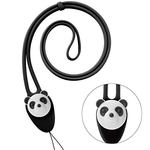 Cute Cartoon Neck Lanyard Strap, Silicone Soft Elastic Long Lanyard for Cell Phone Case ID Card Name Badge Holder Keys Keychain - Panda (Black)