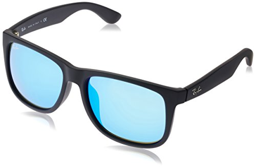 Ray-Ban RB4165F Justin Rectangular Asian Fit Sunglasses, Black Rubber/Blue Mirror, 58 ()