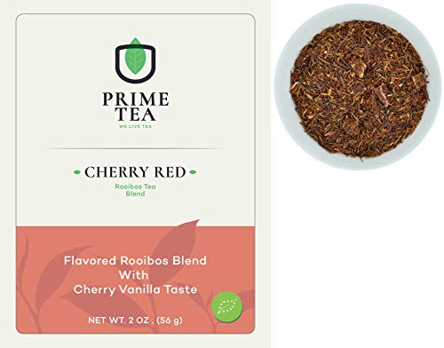 """ROOIBOS TEA - 2 Ounce ≈ 30 servings - Delicious Vegan Caffeine Free Non-GMO All Natural Flavors Assortment of Loose Leaf Tea - Hot or Iced -""""6o9 Group"""" - (Cherry Red, 2oz)"""