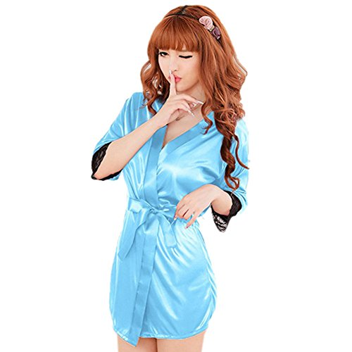 Mercu Women Nightdress G-string Thongs Satin Robe Lace Bathrobes Sleepwear