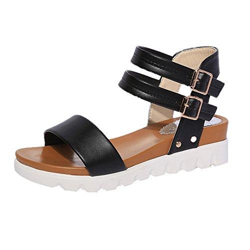 - Pandaie Womens ... Sandals Fashion Women Simple Sandals Leather Flat Sandals Ladies Shoes Black/39