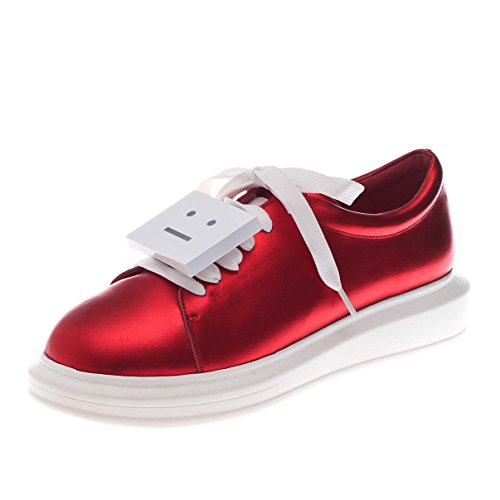 Cartoon Red Platform Oxford Women's Face Sneakers MINIVOG Leather 1Zwq505z