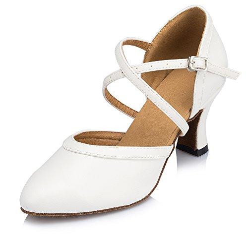 Misu Womens Chiuso Punta Suede Suola Salsa Latino Tango Pratica Scarpe Da Ballo Sala Da Ballo Con 2,7 Tacco Bianco