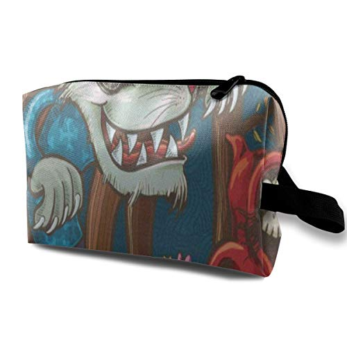(Receive Bag Custom Scary Little Red Riding Hood And Big Bad Wolf Makeup Pouch Waterproof Toiletries Organizer Bag For Travel Packing Bag With)