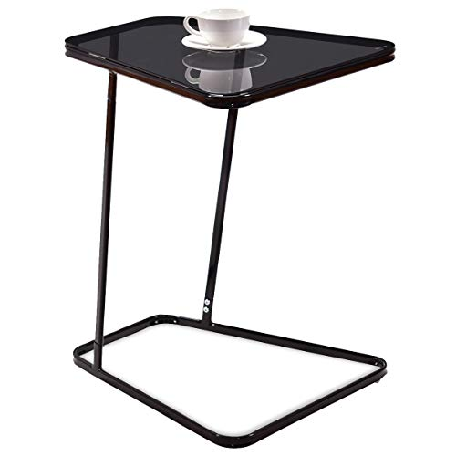 Tangkula Snack Table Home Glass Top Metal Frame Sofa Side End Table C Shaped Table 1, Black