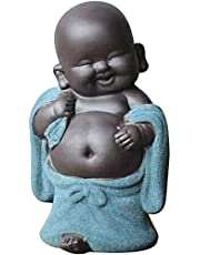 Peer Home Decor Tiny Cute Laughing Buddha Statue Baby Monk Figurine Creative Ornaments Gift Classic Delicate Ceramic Arts and Crafts Tea Accessories Small Adorable Gift
