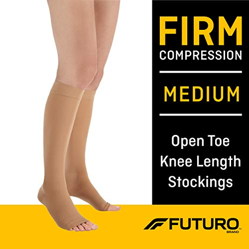 Futuro Therapeutic Knee Length Stockings for Men/Women, Firm Compression, Open Toe, Medium, Beige