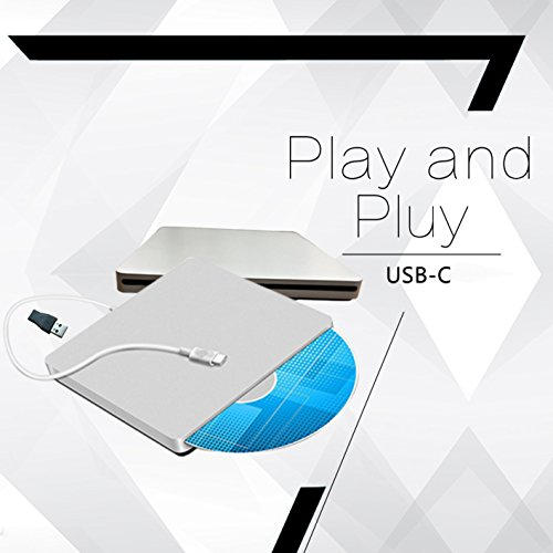 Lvaen USB-C Super drive External DVD/CD Rewriter Drive Lvaen USB C Burner for latest Mac Pro/MacBook Pro/ASUS U306UA/ASUS/DELL Latitude,Support Windows 98/XP/Win 7/8/10/Mac OS (Silver) by Lvaen (Image #3)'