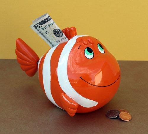 Bobble Tail Clown Fish Piggy Bank