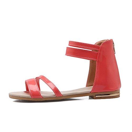 AllhqFashion Women's Low Heels Solid Zipper Open Toe Sandals Red rdBHw