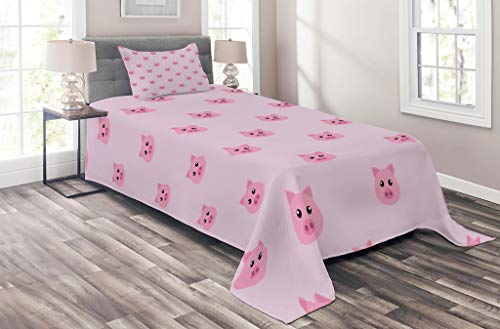 Lunarable Pig Coverlet Set Twin Size, Pig Avatar Kid-Friendly Clip Art Style Funny Icon Illustration Design Print, 2 Piece Decorative Quilted Bedspread Set with 1 Pillow Sham, Baby Pink Pale Pink for $<!--$59.95-->
