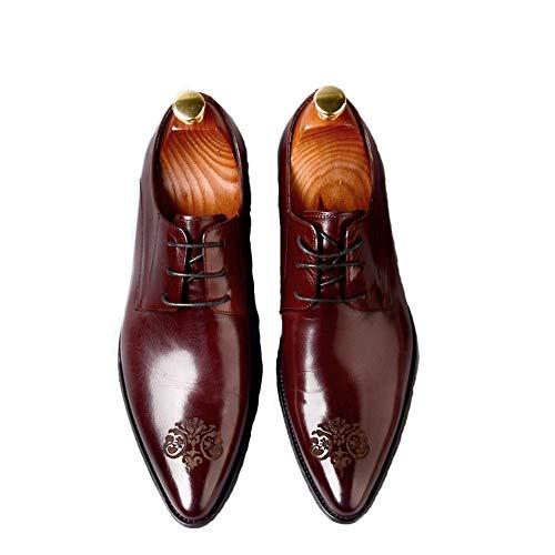 Para Marrón 42 Negocios Hombre De color Calzado Durable Antideslizante Comfort Shoes Tamaño Puntiagudo Rojo Eu Formal Qiusa qnWHTZn