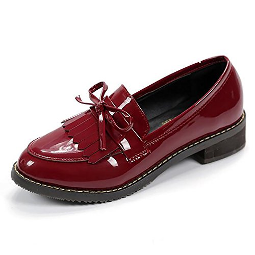 Meeshine Womens Leather Slip On Flat Oxfords Shoes Fringe Low Heel Loafers Shoes