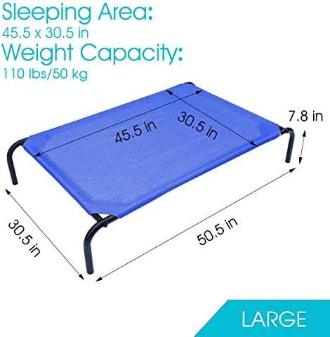PHYEX Cama elevada portátil con marco de acero resistente para mascotas, cama elevada de refrigeración, 50.5 pulgadas de largo x 30.5 pulgadas de ancho x 7.8 pulgadas de alto (L, azul) 7