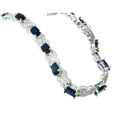 Luxury Sterling 925 Silver Large Modern Designer Blue Stone Set 7.5