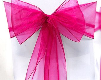 V'Decor Pack of Organza Chair Sashes / Bows sash for Wedding or Events Banquet Decor Chair Bow Sash (10, Deep Magenta) (Magenta Chair)