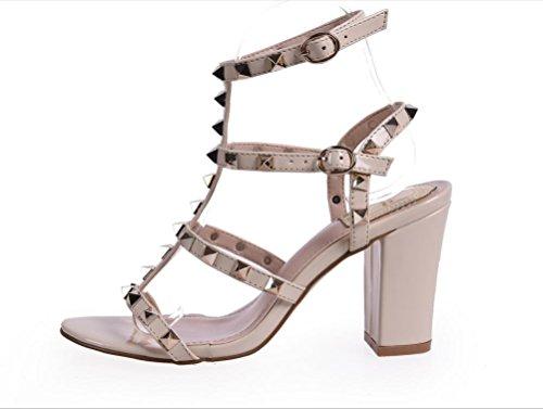 YCMDM Codice WomenBig scarpe col tacco alto arcobaleno cinghie Rivet sandali spessi Colore Rosa Nero albicocca 39 36 35 38 37 40 , apricot , 35