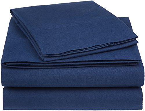 AmazonBasics Essential Cotton Blend Sheet Set -Twin XL, Navy