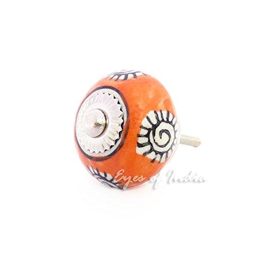 Eyes of India - Orange Black Ceramic Dresser Cabinet Cupboard Door Knobs Pulls Decorative Shabby Chic Colorful Boho ()