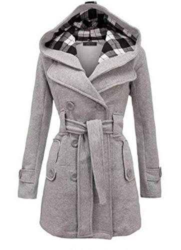 capuche longues pure double automne chic mode manches le à hiver pour boutonnage vestes des poches à côté Parkas trenchs dans manteaux dames couleur élégante wpn7T0xqZI