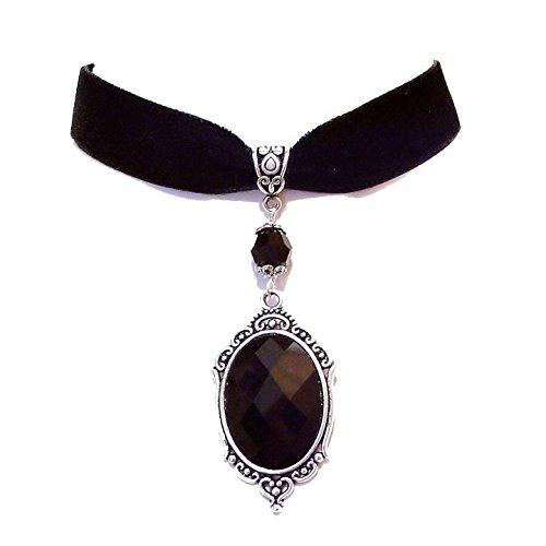 - Tarja' Black Velvet Gothic Choker Mirror Necklace w Swarovski Crystal