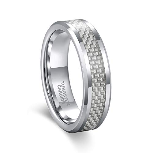 (Tungsten Ring for Men 6mm Comfort Fit Grey Carbon Fiber Inlay Wedding Band Size 10.5)