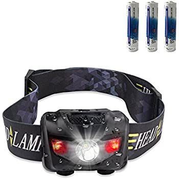 CREE LED Headlamp Flashlight, STCT Red Light Headlamp, Waterproof Head Lights Led for Kids and Adults - Camping, Hunting, Running, Reading, - 3 AAA batteries included (black)