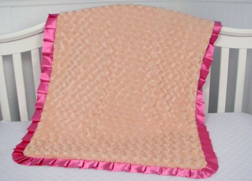 New Boutique Roses Minky Chenille Baby Blanket - SUPER Soft ! (Peach)