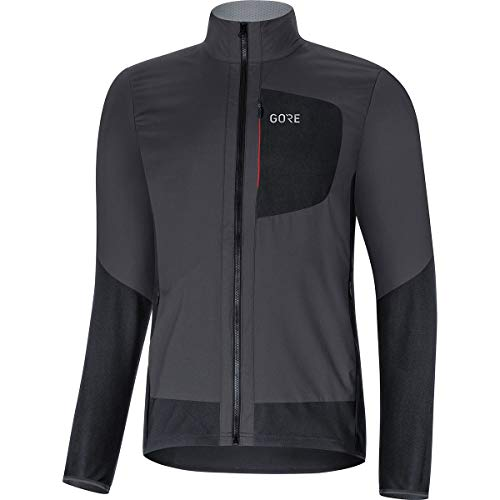 GORE WEAR C5 Men's Insulated Cycling Jacket Gore Windstopper, XL, Terra Grey/Black