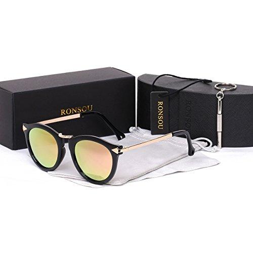 Ronsou Womens Fashion Designer Polarized Sunglasses 100% UV400 Protection Sun Glasses black frame/pink lens