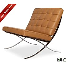 MLF All Handicraft Knoll Barcelona Chair (4 Colors). Superior Craftsmanship. Italian Leather, High Density Foam Cushions & Seamless Visible Corners. Polished Chrome Frame Riveted with Cowhide Saddle Straps. Superior Grade Stainless Steel, Resistance to Chipping, Corrosion & Rust.(Light Brown)