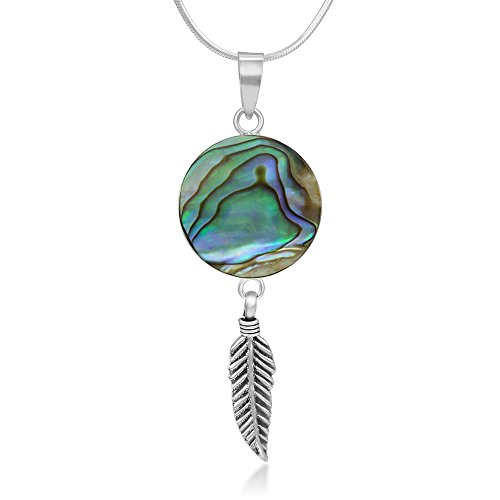 925 Sterling Silver Abalone Shell Dream Catcher Lucky Charm Round Pendant Necklace, 18