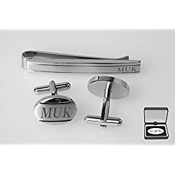 Personalized Silver Stainless Steel Oval Cufflinks & Tie Clip Bar Set Engraved FREE Cuff Links