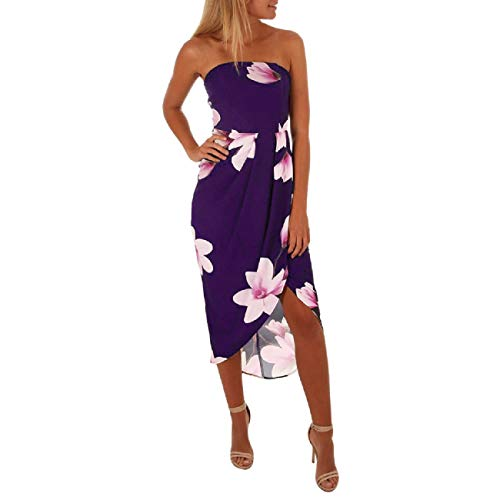 FAPIZI Women Vintage Printed Sleeveless Backless Summer Casual Strapless Sundress Beach Side Slit Dress Purple