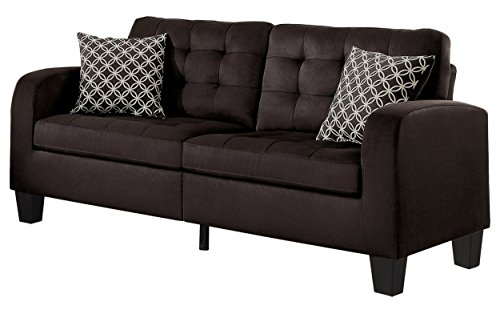 Homelegance Accent - Homelegance Sinclair Tufted Accent Sofa with Two Geometric Pattern Toss Pillows, Chocolate