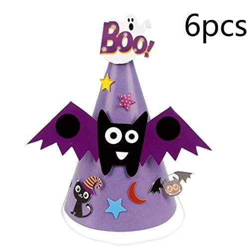 6pcs Halloween Party Hat Mini Cone Cap Paper Hats Headdress Halloween Head Accessories for Children Kids - Spider]()