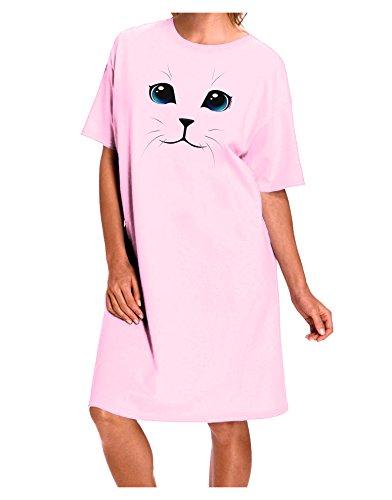 TooLoud Blue-Eyed Cute Cat Face Adult Night Shirt Dress - Pink - One - Eyed Cat