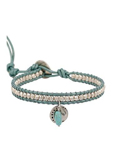 Chan Luu Beaded Single Wrap Bracelet on Aqua-color Leather with Charms (Chan Luu Single Wrap)