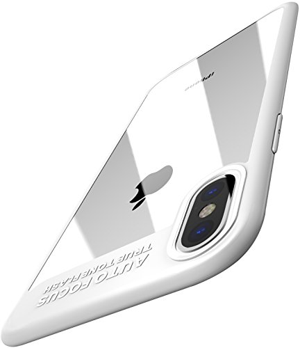 TOZO for iPhone X Case, Soft Grip Matte Finish TPU + PC Clear Hard Back Panel Hybrid Ultra-Thin [ Slim Fit ] Protect Cover Back-Transparent Bumper for iPhone 10 / X [White Edge]