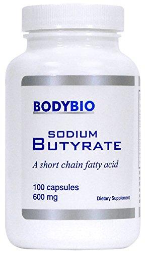 BodyBio - Sodium Butyrate, Short Chain Fatty Acid, 600mg, 100 Vegetarian Capsules