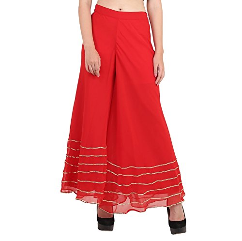 Shararat Women's Palazzo Pant Georgette Loose Wide Lace Work High Waist Sharara Red ()