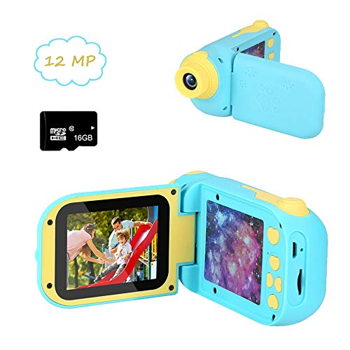 Cocopa Kids Camera Digital Camera for Girls Rechargeable 1080P 12MP Toy Camera for Boys Video Recorder 16 GB Card Included Gifts for Boys Girls Toddlers (Blue)
