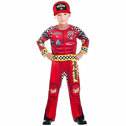 [Racing Driver Red Muscle Child Costume 8] (Childs Racing Driver Costume)